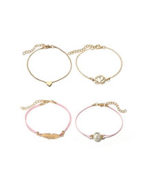 Fashion Gold Color Leaf Shape Decorated Bracelet