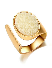 Simple Gold Color Pure Color Decorated Ring