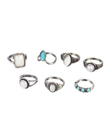 Vintage Antique Silver Round Shape Gemstone Decorated Rings(7pcs)