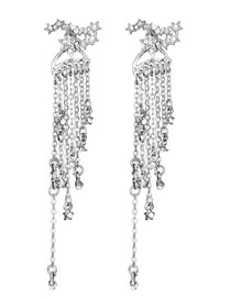 Vintage Silver Color Tassel Pendant Decorated Long Earrings