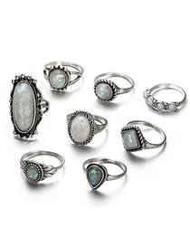 Vintage Antique Silver Oval Shape Gesmtone Decorated Rings(8pcs)