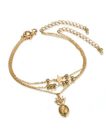Fashion Gold Color Pineapple Pendant Decorated Simple Anklet