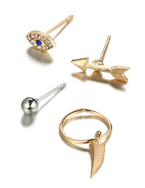 Fashion Gold Color Eye&arrow Shape Design Simple Earrings(4pcs)