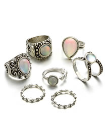Fashion Silver Color Round Shape Gemstone Decorated Ring(7pcs)
