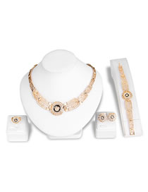 Fashion Gold Color Diamond Decorated Hollow Out Jewelry Set
