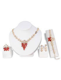 Fashion Claret Red Diamond Decorated Jewelry Set