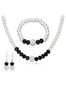 Fashion White+black Pearl Decorated Jewelry Set