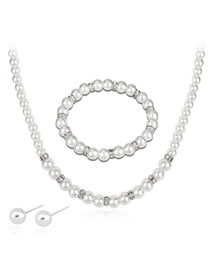 Fashion White Pearl&diamond Decorated Jewelry Set