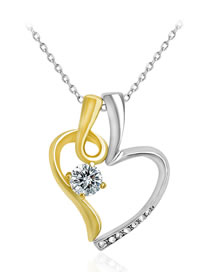 Fashion Gold Color+silver Color Heart Shape Decorated Necklace
