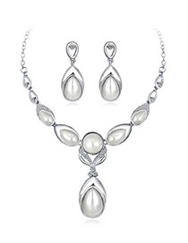 Fashion White Water Drop Shape Decorated Jewelry Set