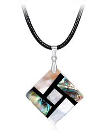 Fashion Multi-color Square Shape Decorated Necklace