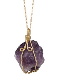 Fashion Purple Winding Pendant Decorated Long Necklace