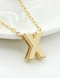 Fashion Gold Color Letter X Shape Decorated Necklace