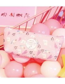Fashion Pink Bird&leaf Pattern Decorated Pencil Case