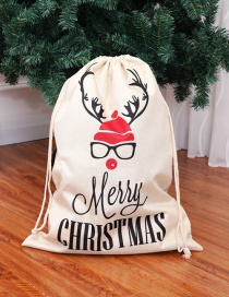 Fashion White+red Letter Pattern Decorated Larger Drawstring Bag