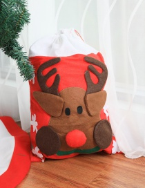 Fashion Red+brown Color Matching Design Elk Shape Gift Bag