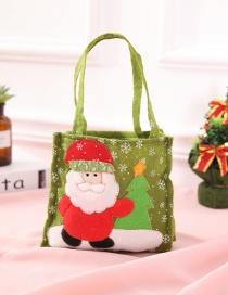 Fashion Green Santa Claus Pattern Decorated Gift Bag