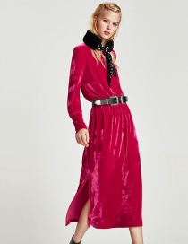 Fashion Plum Red Pure Color Design Long Sleeves Dress
