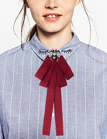 Fashion Red Spider Shape Decorated Bowknot Brooch