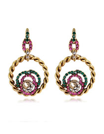 Elegant Pink+green Hollow Out Round Shape Design Earrings