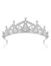Fashion Silver Color Diamond Decorated Hollow Out Crown