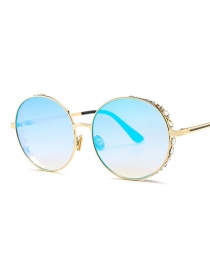 Fashion Blue Diamond Decorated Round Shape Sunglasses