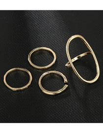 Fashion Gold Color Pure Color Decorated Rings(4pcs)