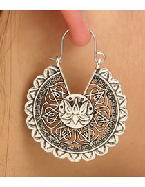 Fashion Antique Silver Hollow Out Flower Decorated Long Earrings