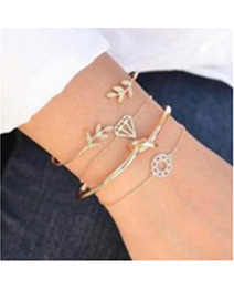 Fashion Gold Color Leaf&diamond Decorated Bracelet(4pcs)
