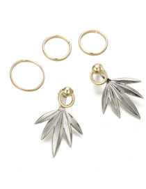 Fashion Silver Color Maple Leaves Shape Design Earrings