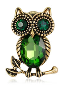 Fashion Green Owl Shape Decorated Brooch