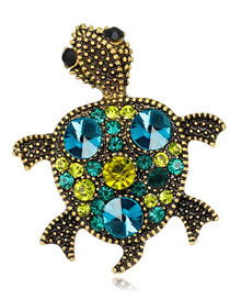Fashion Blue Tortoise Shape Decorated Brooch