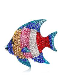Fashion Multi-color Fish Shape Decorated Brooch