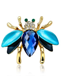 Fashion Blue Bee Shape Decorated Brooch