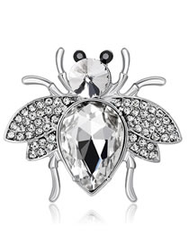 Fashion Silver Color Bee Shape Decorated Brooch