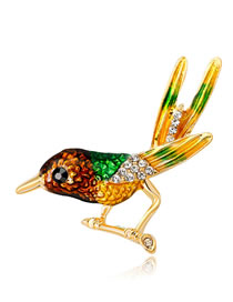 Fashion Multi-color Bird Shape Decorated Brooch