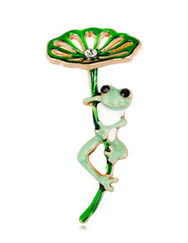 Fashion Green Frog Shape Decorated Brooch