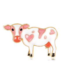 Fashion Pink+white Cow Shape Decorated Brooch