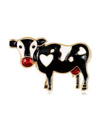 Fashion Black Cow Shape Decorated Brooch