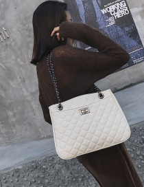 Fashion White Grids Pattern Decorated Pure Color Bag