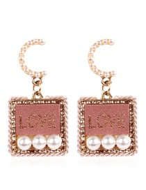 Fashion Pink Letter Pattern Decorated Earrings
