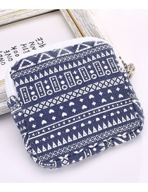 Fashion Blue Geometric Pattern Decorated Storage Bag