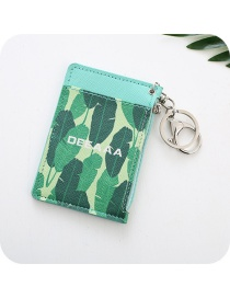 Fashion Green Leaf Pattern Decorated Card Holder