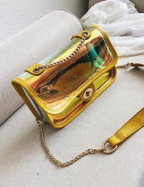 Fashion Yellow Square Shape Decorated Shoulder Bag