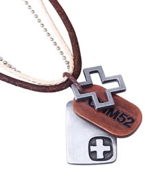 Vintage Brown Cross Shape Decorated Necklace