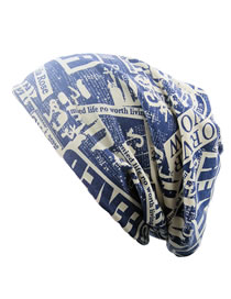 Fashion Blue Letter Pattern Decorated Hat