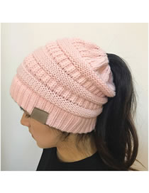 Fashion Pink Stripe Pattern Decorated Pure Color Hat