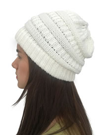 Fashion White Stripe Pattern Decorated Pure Color Hat