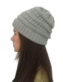 Fashion Light Gray Stripe Pattern Decorated Pure Color Hat
