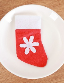 Fashion Red+white Snowflake Pattern Decorated Christmas Sock
